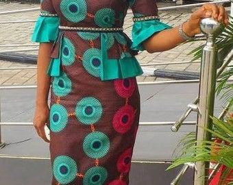 Cold Shoulder African Straight Dress