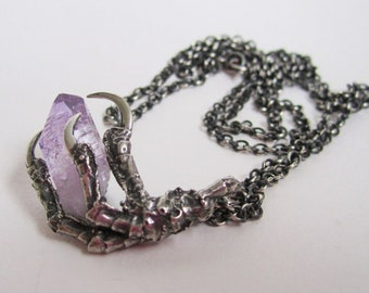 The Hunted - Crow claw silver pendant with amethyst crystal