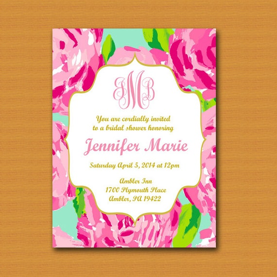 Lilly pulitzer inspired invitation monogrammed graduation filmwisefo Images