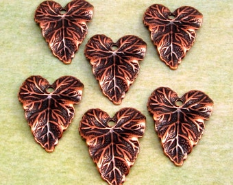 Antiqued Copper Brass Leaf Charm, 6 Pc. AC144