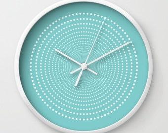 36 colours, Aqua Sky, Vortex Pattern Wall Clock, White dots wall clock, Geometric Pattern Modern Wall Art, Designer Wall Clock, Minimalist