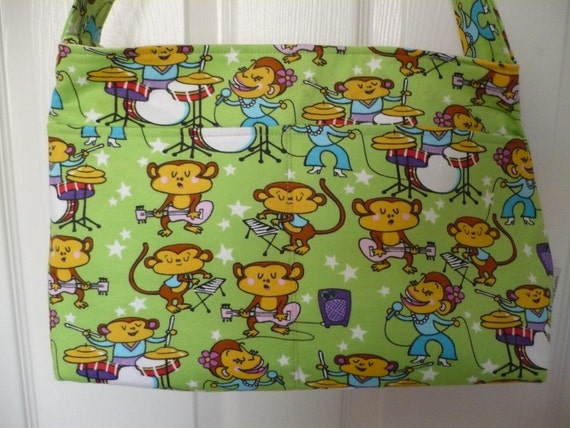 Musical Monkeys Green Purse Diaper Bag