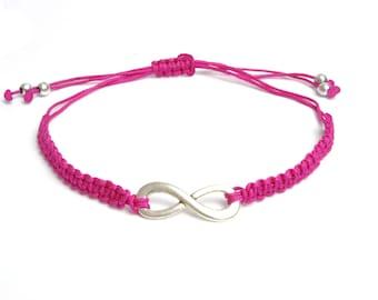 Infinity Bracelet, infinity jewellery, friendship bracelet, bff jewelry, adjustable macrame bracelet,custom colour, sweetheart gift, couple