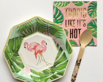 Flamingo plates - flamingo dessert plates - flamingos tropical party decorations-bridal shower- baby shower -flamingo party - luau confetti