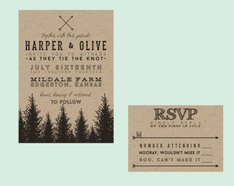 Rustic Evergreen Wedding Invitation // DIY Printable // Rustic Wedding, Forest Wedding, Country Wedding
