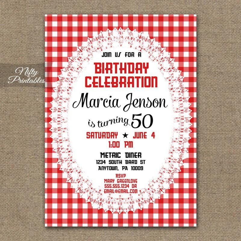 Red Birthday Invitations Picnic Gingham 30th 40th 50th 60th
