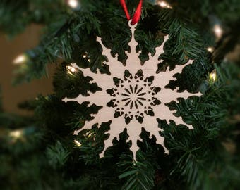 Snowflake Christmas tree ornament, Decoration, Laser Cut, Birch, Wood