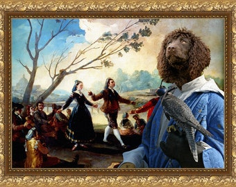 Irish Water Spaniel Dog Art Irish Water Spaniel Print Irish Water Spaniel Canvas Art Water Spaniel Custom Dog Portrait