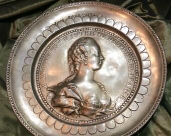 Pewter Portrait Plate- Copy of Wax Portrait of Marie Antoinette