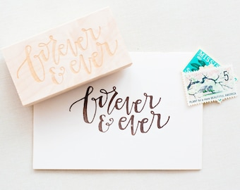 Forever & Ever Stamp - Personalized Wedding Stamp, Favor Stamp, Thank You Stamp, Wedding Card Stamp, Always, Love Stamp (Style 15)
