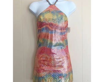 Holographic Rainbow Halter Dress, Psychedelic Vintage Size X-Small (XX)