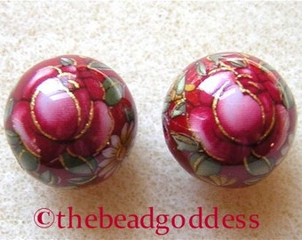 New 12mm Pair Beautiful Japanese Tensha Beads RED ROSE RUBY