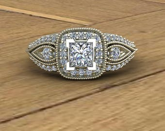 Diamond Engagement Ring - Princess Cut - Diamond Halo Engagement Ring - 14k White Gold - An Original Design by Charles Babb
