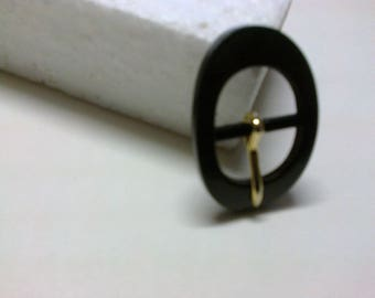 Black oval buckle plastic passage 2.2 cm * BO150 *.