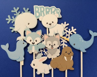 Arctic animals cupcake toppers, 12 arctic animal toppers, bear, rabbit, sea lion, wolf, fox, polar animals , snow flake,cold weather animals