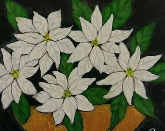 White poinsettias - 6 x 6