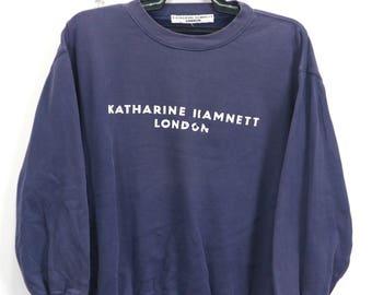 Vintage Katharine Hamnett London Sweatshirt Jumper Pullover Spellout Jumper Sweater Size Medium