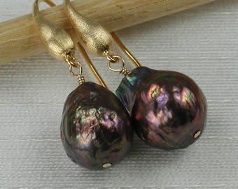 Black Kasumi-Like Baroque Pearls With Gold Dangle Earrings