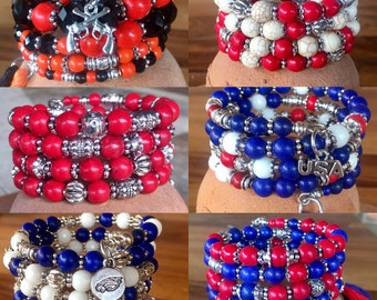 Handmade 4-wrap memory wire bracelet in your team colors! With tibetan silver beads, spacers and team or sport charm
