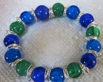 Blue and Green Silver Beaded Bracelet