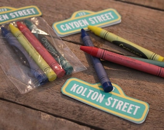 10  Customized Sesame Street Party Favors with Crayons