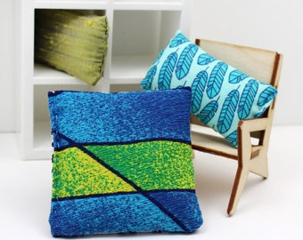 3 Pillow Set - Miniature Modern decor - Tiki Blues and Greens