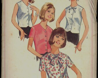 1960s Size 14 Bust 34 Bow Blouse Set Simplicity 6844 Sewing Pattern Vintage Retro 60s