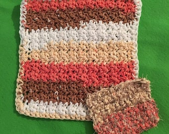 Crocheted dishcloth and scrubby sets, crochet for kitchen, dishcloths, scrubby,