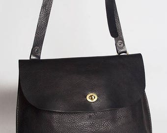 Black handmade leather handbag large/ cross body bag / women's leathers bag / cross body bag women / leather hand bag / large Jenny bag