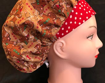 CHRISTMAS GINGERBREAD MAN Holiday Winter Surgical Womens Scrub Hat Bouffant fits ponytail, Chemo Cap, Surgical Hat, Nurse Cap