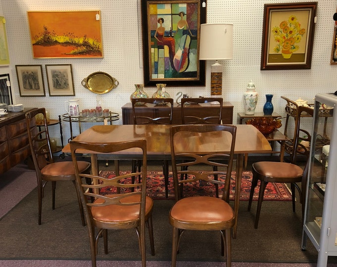 Gorgeous Set of Six Italian Mid Century Modern Dining Chairs