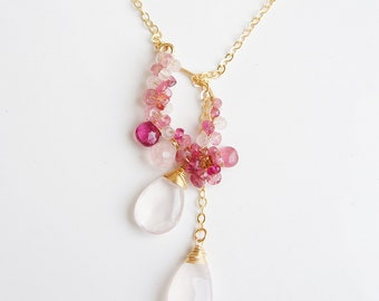 Cherry Blossom Rose Quartz Necklace, Pink Lariat Necklace, Japanese Jewelry, Pink Gemstone Pendant