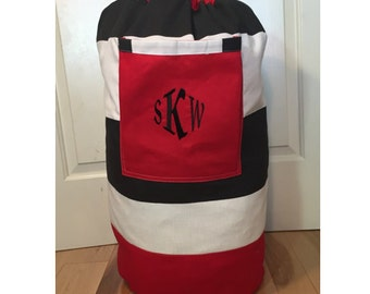 Monogrammed Laundry Duffel Bag, Red, Black & White Cabana Stripe, Laundry Bag, Laundry Bag for College, Hanging Laundry Bag, Laundry Hamper