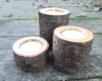 Natural Candle Holders, Reclaimed Wood Candle Holders, Wooden Candle Holders, Set of 3