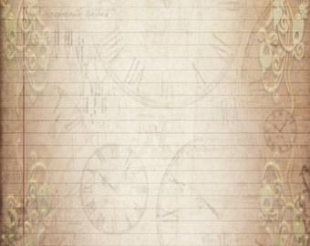 Printable Journal Page, Vintage Filigree Lined Digital Stationery, 8 x 10 JPG Instant Download, Scrapbook Filigree Digital Writing Paper