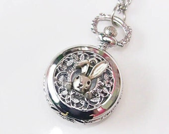 Silver Vintage Little Cute Rabbit in the Garland Pocket Watch