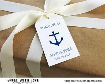 Wedding Favor Tag - Anchor Wedding - Nautical Wedding - Navy Wedding - Wedding Favor Tags - Custom Tags - Personalized Tags - LARGE