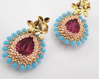Handmade earrings crystal drop fucsia and gold