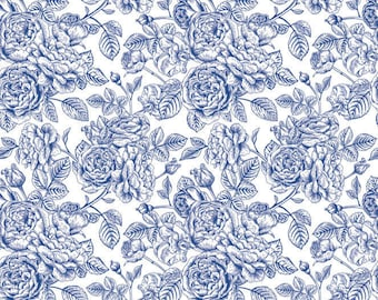 Blue Roses Coverall - Ceramic Decals- Enamel Decal - Fusible Decal - Glass Fusing Decal ~ Waterslide Decal - 80766
