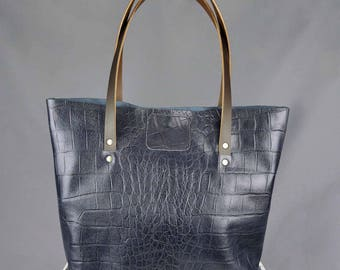 Leather Tote Bag Large Handmade Navy Crocodile Print // Upcycled Vintage Leather Shopping Handbag