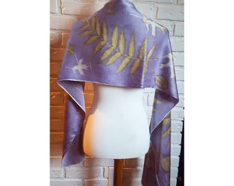 Lavender Eco Printed Silk Scarf, Logwood Dyed, Natural Dye