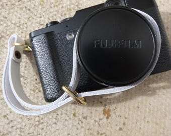 Handmade Leather camera  wrist strap - White