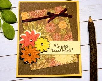 Mum Birthday Card - Bday Card For Mother - Chrysanthemum - Fall Bday Card - Happy Birthday Her - Women Bday Cards - Cricut Cards