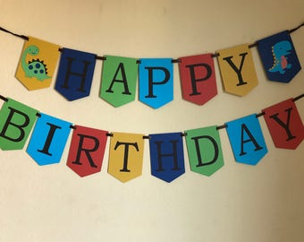Dinosaur happy birthday banner, dinosaur party, dinosaur birthday, boy dinosaur, happy birthday banner,