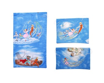 Peter Pan cotton cloth bag pouch set, colorful blue Neverland, Tinkerbell and Hook pattern, eco friendly gift wrap, handmade in Vienna