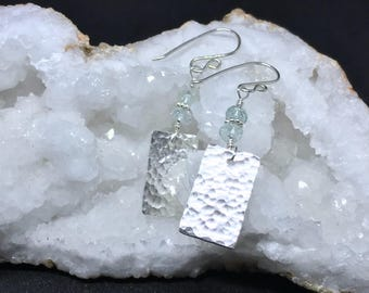 Precious Metal Clay Aquamarine Rondelle Earrings