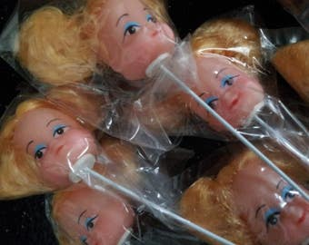 Vintage Mini Doll Heads on Picks Blonde With Pig tails