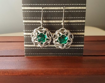 Chain maille earrings - wrapped GREEN Swarovski crystal dangles