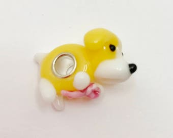 Cute Dog Large Hole Bead European Charm Yellow and White Dog Bead Animal Charm Dog Glass Bead Make Your Own Jewelry Making LynnsGemSupplies
