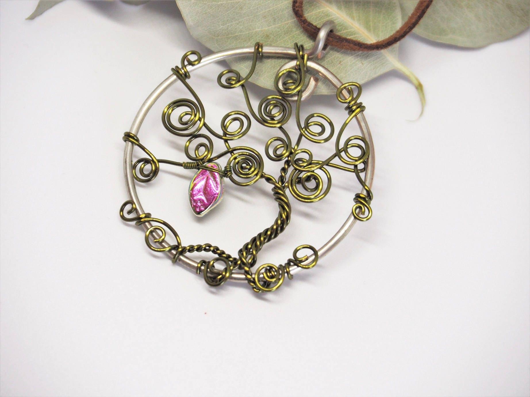 Wire tree pendant ~ Olive green ~ Handmade